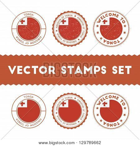 Tongan Flag Rubber Stamps Set. National Flags Grunge Stamps. Country Round Badges Collection.