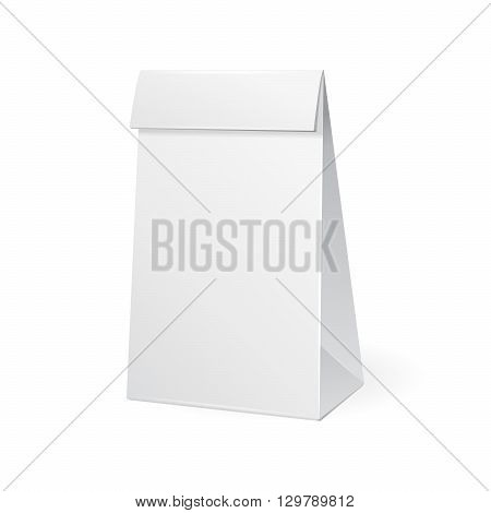 Paper Bag Package Of Coffee, Salt, Sugar, Pepper, Spices Or Flour, Filled, Folded, Close, White. Snack Product Packing Vector EPS10. Mock Up Template Ready For Your Design.