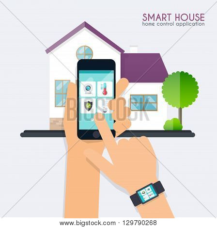 Smart House. Home Control Application Concept. Hand Holding Smart Phone With Home Control Applicatio
