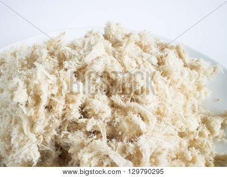Dried shredded pork (pork floss) on white background