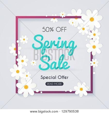 Spring Sale Banner, Sale Poster, Sale Flyer, Sale Vector. Vector Illustration.
