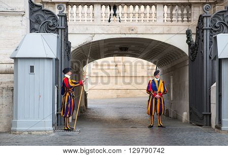 ROME, ITALY - APRIL 8, 2016: Papal Swiss Guard in uniform.