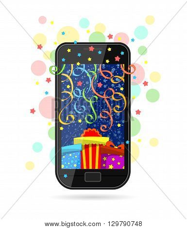 Modern mobile phone with picture of gifts on screen, colorful ribbons and stars