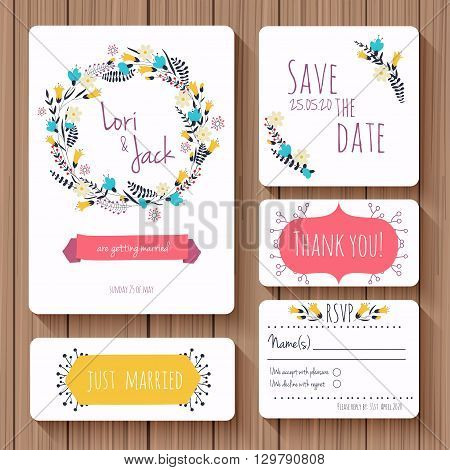 Wedding invitation card set. Thank you card save the date cards RSVP card just married card. Vector illustration.