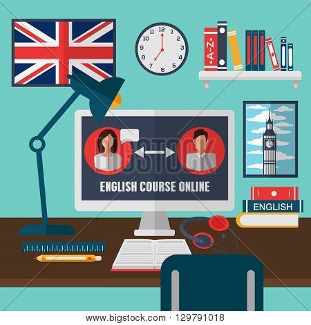 Learning English Online. Online Education Vector illustration