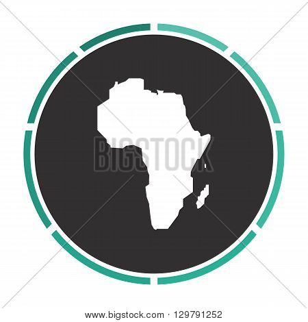 Africa Simple flat white vector pictogram on black circle. Illustration icon