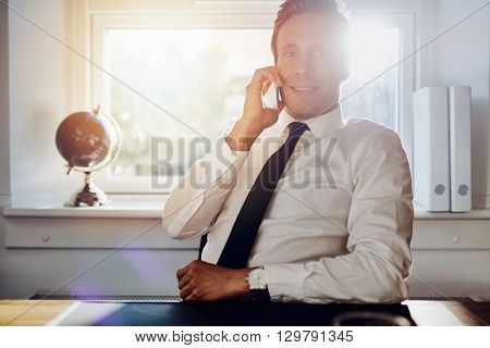 White Executive Business Man Talking On The Phone