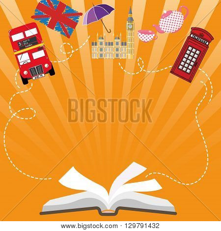 Language poster, banner, Open book with characters England - Big Ben, red bus, red telephone box. Perfect for language school, courses, poster or web-site.