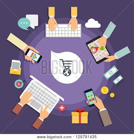 Online store concept. Icons for mobile marketing. Hand holding smart phone. Creative team desktop top view with tablets stationery and people working together. Modern vector illustration concept.
