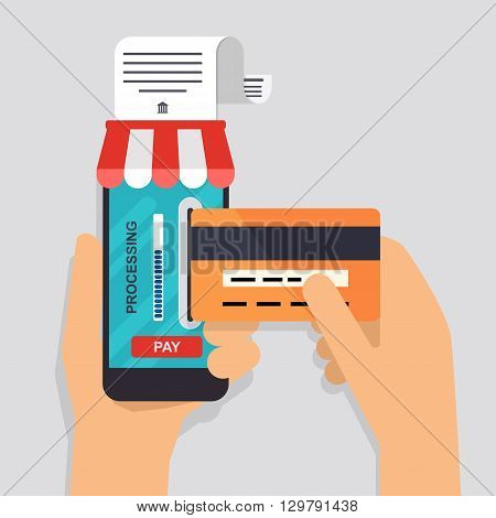 Online and mobile payments concept. Human hand finger pressing pay button on a phone with running payment app. Vector illustration.