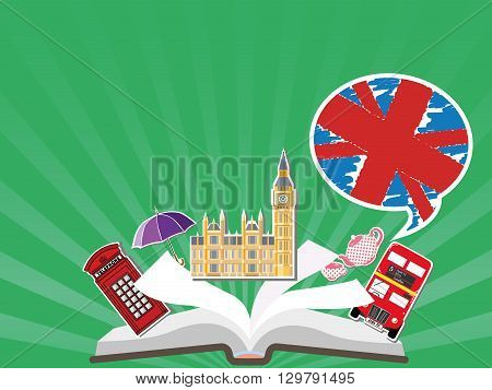 English Language School poster. Learn english in London or England, vector design illustration. Open book with characters England - Big Ben, red bus, red telephone box.