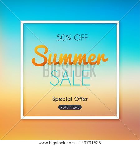 Summer Sale Banner. Sale Poster, Sale Flyer, Sale Vector. Blurred Background. Vector Illustration.