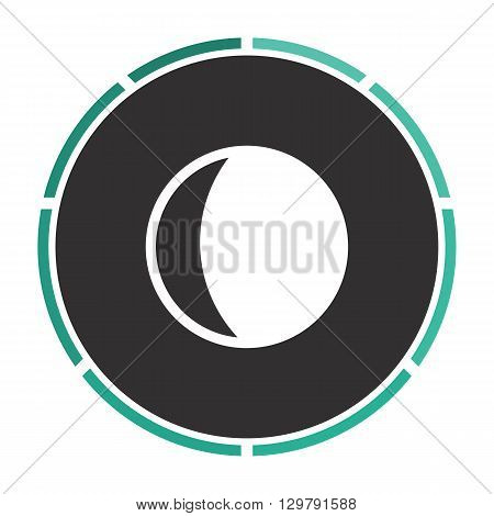 lunation Simple flat white vector pictogram on black circle. Illustration icon