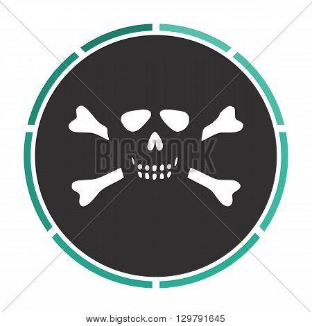 Skull crossbones Simple flat white vector pictogram on black circle. Illustration icon
