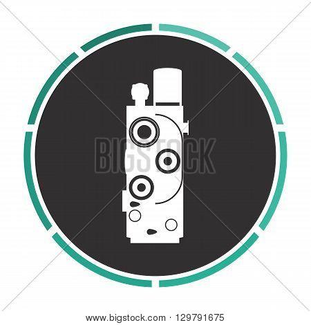 Retro cinema Simple flat white vector pictogram on black circle. Illustration icon