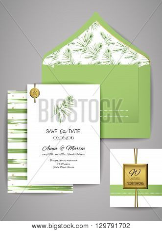 Collection of Wedding invitation card suite with watercolor palm branch . Vector Templates: invitation, save the date card.