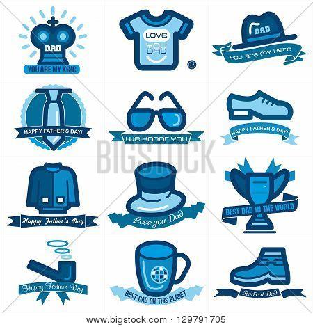 Set of twelve mnemonics for Fathers day celebration