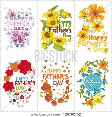 Set of six mnemonics for Fathers day celebration