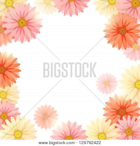 Background with pink, yellow and red flowers and sun glares