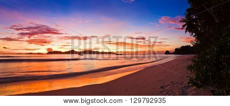 Tropical island at sunset - nature background