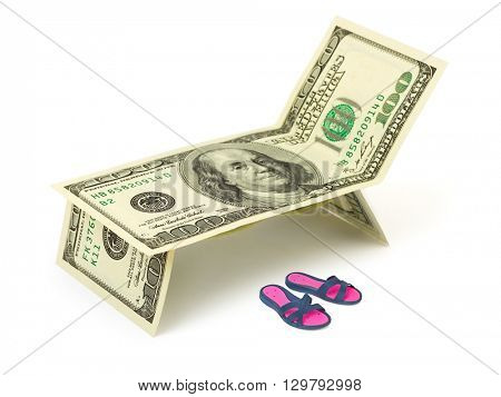 Chaise longue made of money and beach shoes isolated on white background