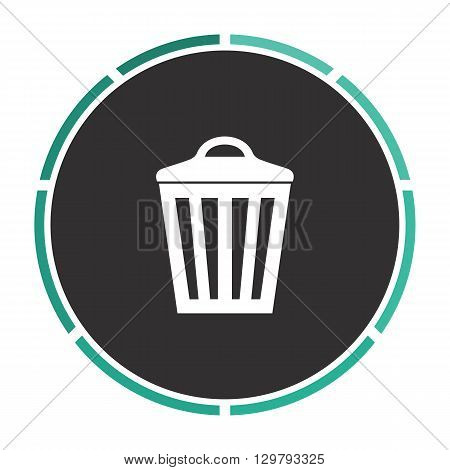 Trash can Simple flat white vector pictogram on black circle. Illustration icon