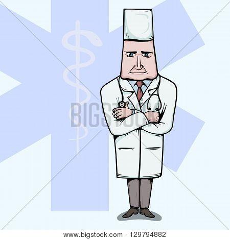 Doctor standing with crossed hands vetor illustration