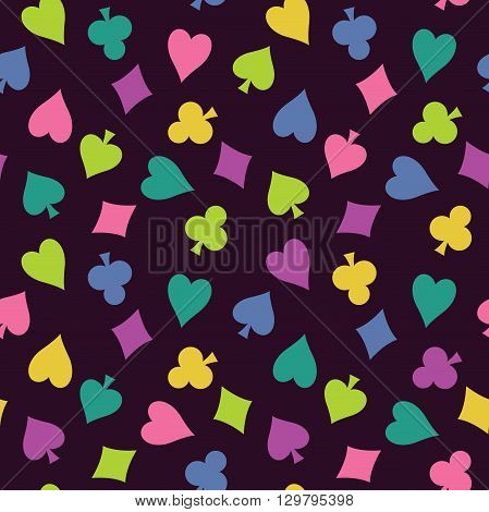 Seamless vector background with colorful suits of playing cards. Old purple cloth with a pattern of club diamond spade heart.