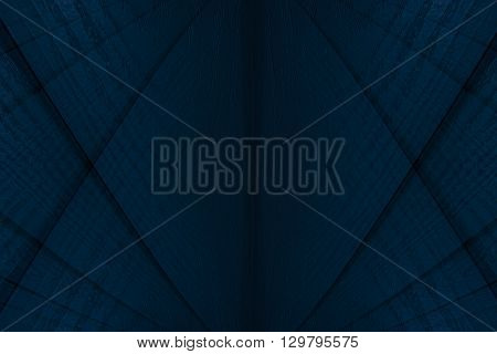 Abstract modern background of the wooden planks. Abstract minimalistic pattern intersecting strips. Deep blue background.