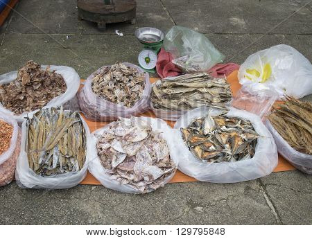 dried fish for cooking at the market