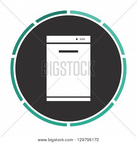 dishwasher Simple flat white vector pictogram on black circle. Illustration icon