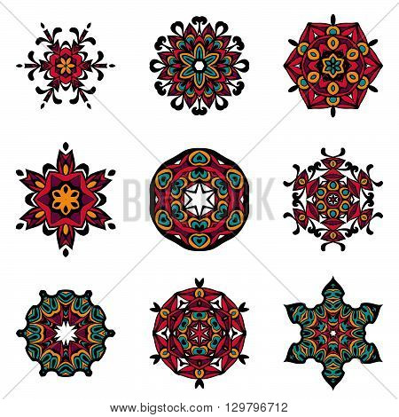 Vector Tribal elements, ethnic collection, aztec stile, tribal art, tribal design isolated on white background. Set Mandalas. Round Ornament Pattern