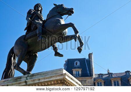 Paris the Louis XIV equestrian statue in Place des Victoires