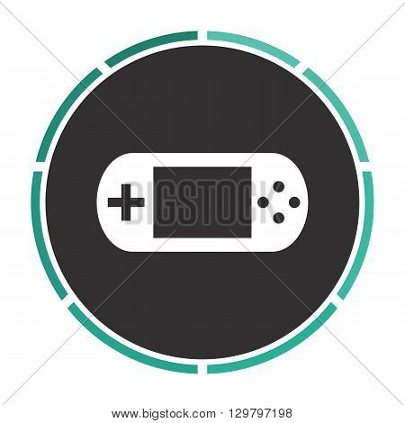 Game gadget Simple flat white vector pictogram on black circle. Illustration icon