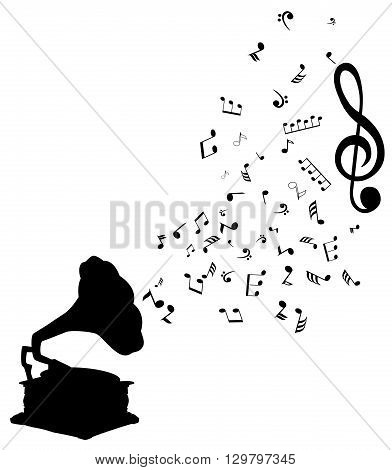 vector illustration of musical notes gramophone silhouette