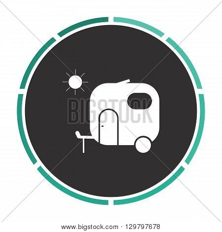 trailer Simple flat white vector pictogram on black circle. Illustration icon