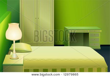 绿色床房矢量