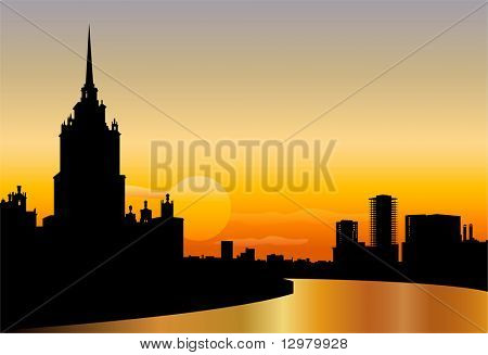 moscow silhouette skyline sunset vector