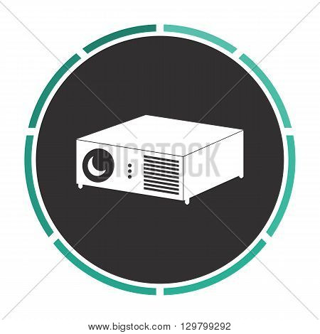 Projector Simple flat white vector pictogram on black circle. Illustration icon