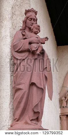 KLEINOSTHEIM, GERMANY - JUNE 08: Virgin Mary with baby Jesus, Monastery of Saint Mary in Kleinostheim, Germany on June 08, 2015.
