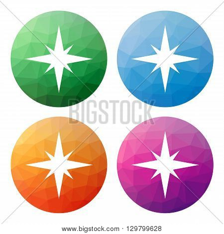 Set  Of 4 Isolated Modern Low Polygonal Buttons - Icons - For Compass