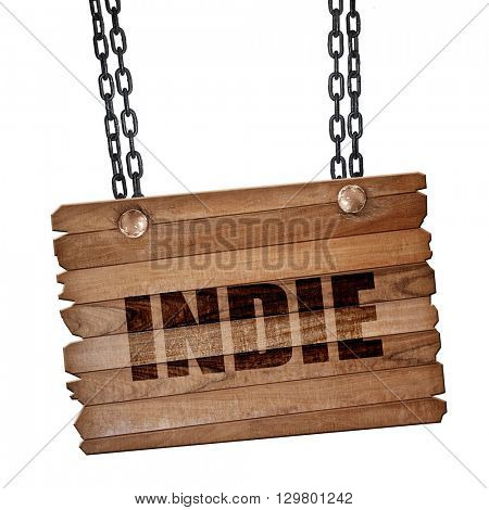 indie, 3D rendering, wooden board on a grunge chain