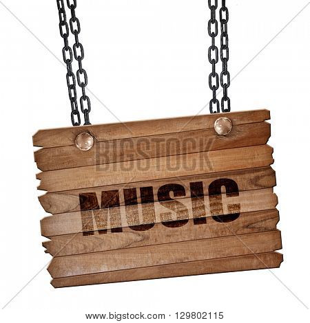music, 3D rendering, wooden board on a grunge chain
