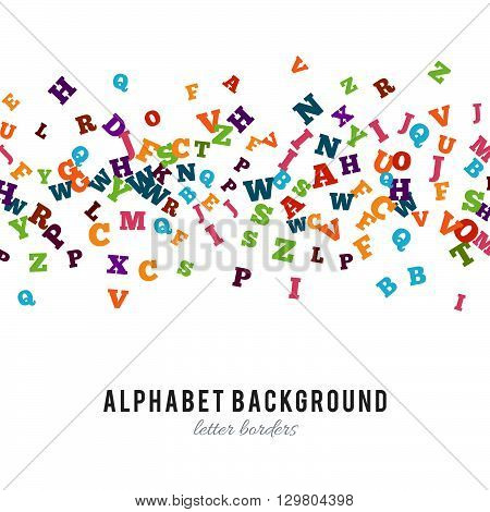 Abstract colorful alphabet ornament border isolated on white background. Vector illustration for bright education, writing, poetic design. Random letters fly stripe. Book concept for grammar school.