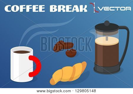 Coffee break - cup of coffee with croissant and pot with coffee grains. Vector illustration.