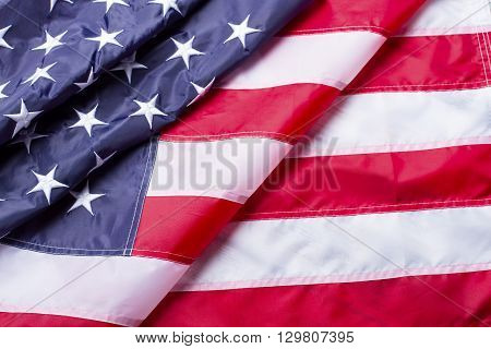 Creased American flag. National flag of America. Future is near at hand. Building democracy and improving life.