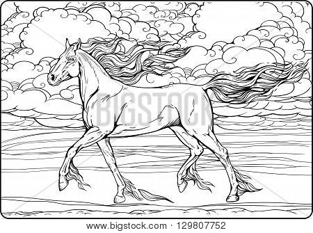 Image of a horse with mane and tail of flames of fire. Coloring page.