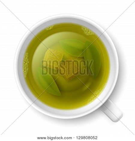 Cup of green tea with cane lump sugar and tea leaves at the bottom over white background