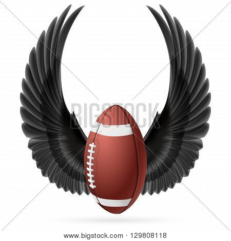 Realistic ball for American football with raised up black wings emblem