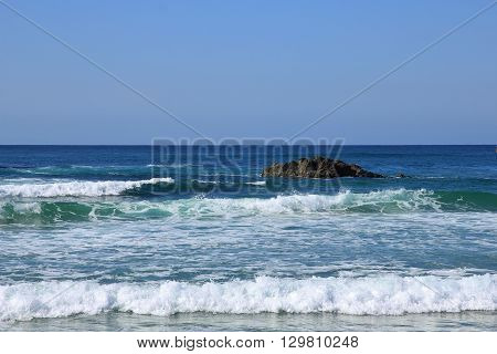 Nature background. Waves in Port Macquarie Australia. Azure blue pacific.